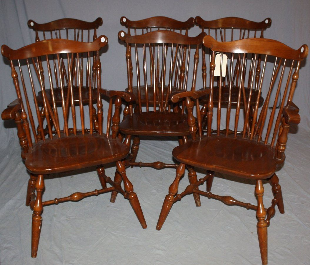 Set Of 6 Temple Stuart Windsor Chairs Part 53