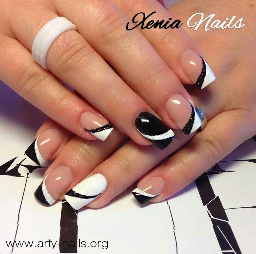 Alb Negru Unghii în 2019 Nails Acrylic Nails și Nail Art Designs