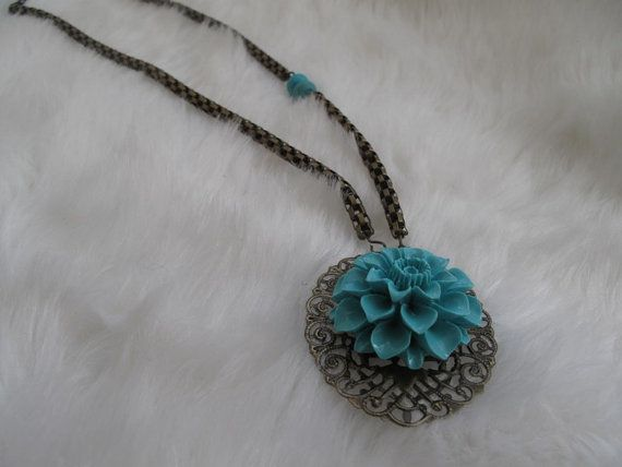 Resin Flower Cabochon Necklace Antique Bronze by galladesign, $19.00
