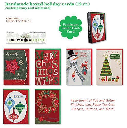 Christmas Holiday Boxed Cards Whimsical Xmas Box Set Assorted with 6