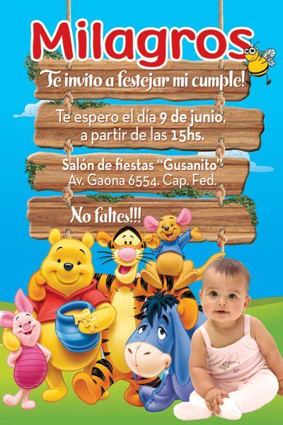 Invitación De Cumple Personalizada De Winnie Pooh Tarjetas