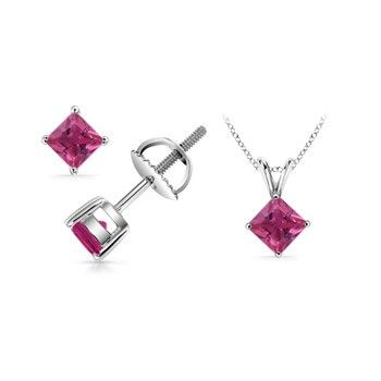 Angara Solitaire Pink Sapphire Earrings in White Gold CfGSv6L
