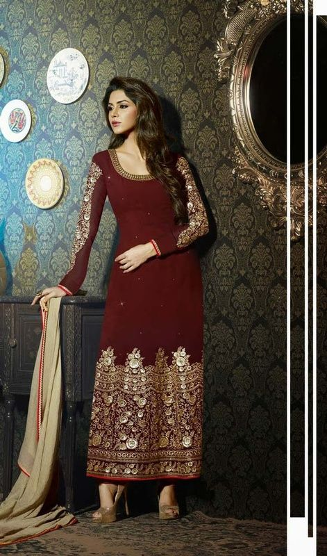 Don the look of a flower fairy by owning this maroon embroidered georgette long churidar suit. The enticing resham and stones work in the course of dress is awe-inspiring. #LongEveningWearDresses