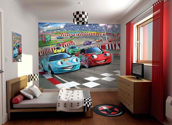 Zoom With Style In 20 Car Themed Bedroom For Your Boys Car Themed Bedrooms Childrens Bedroom Wallpaper Luxury Bedroom Design