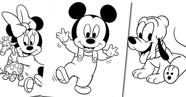 Printable coloring pages of Disney's Baby Mickey crawling ...