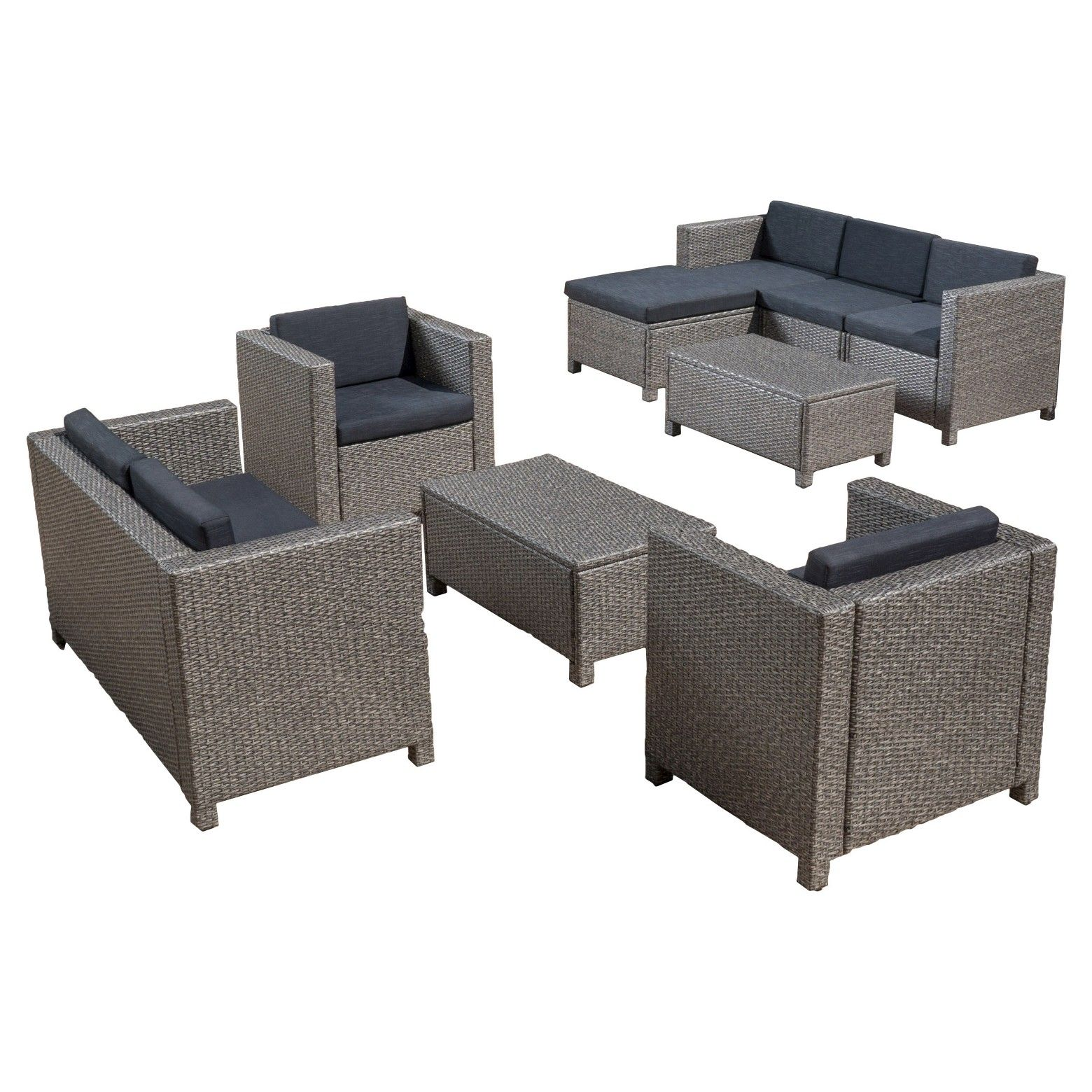 Christopher Knight Home Puerta 9pc Wicker Seating Set | Room