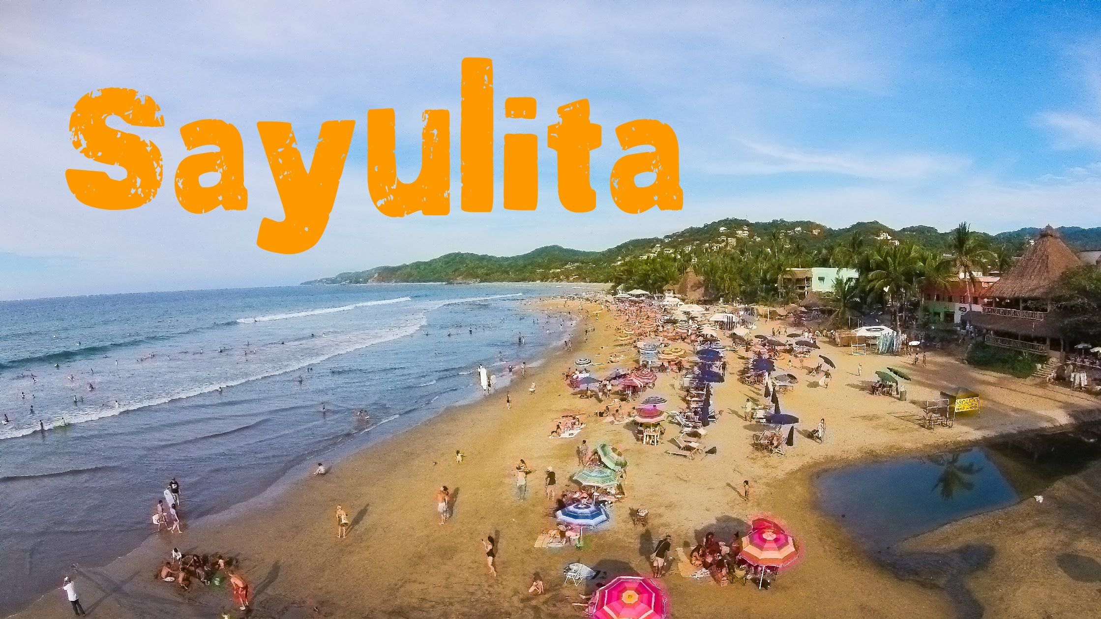 Aerial Video With Drone From Sayulita Surf Beach In Mexico