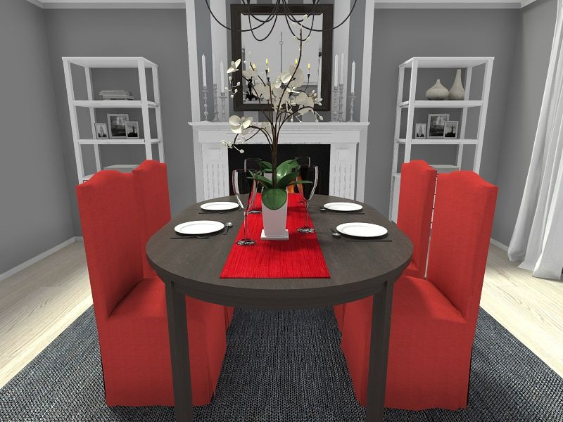Dress Up Your Dining Room With Festive Red Dining Chair Slipcovers For The Holidays For More Christmas Dec Esszimmer Dekor Ideen Esstischlaufer Esstisch Dekor