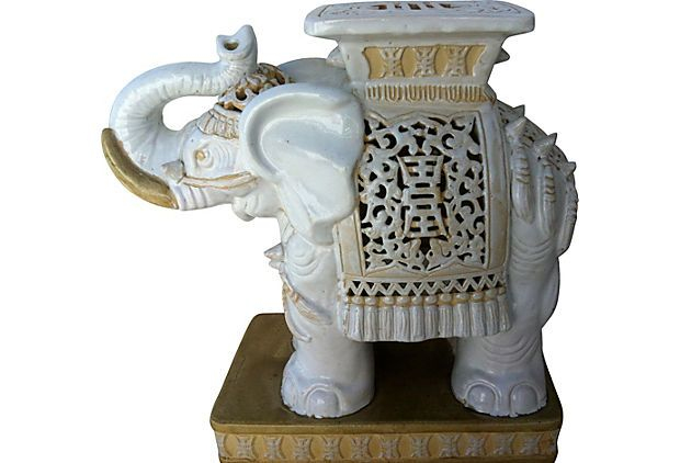 Elephant Side Table Fabulous Heavy Vintage Ceramic