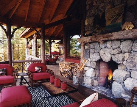 Cozy is rustic outdoor living rooms outdoor living and for Outdoor rooms with fireplaces