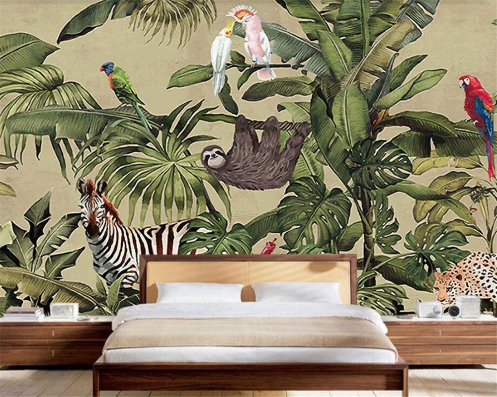 Goedkope Beibehang Custom Behang Retro Tropische Regenwoud Dier Palm ...