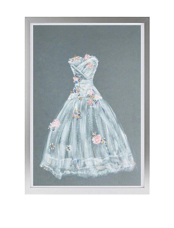 Wedding dress drawing Custom Wedding painting dress Personalised ...