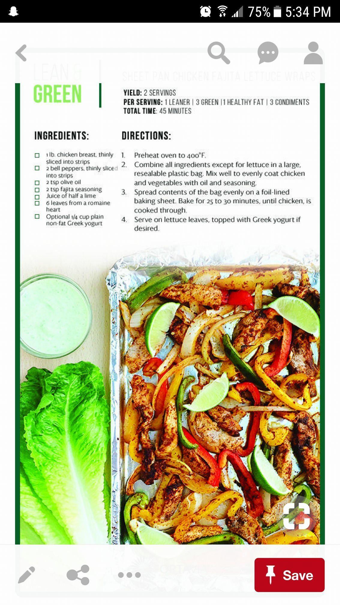 Lean Amp Green Chicken Fajitas Meal Prep Recetas Comida Y Comida Sana