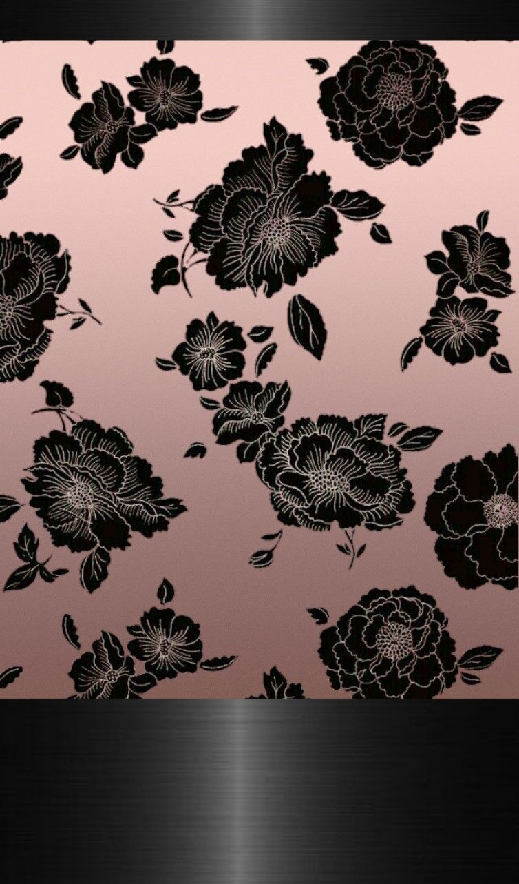 Black Lace Roses On Rose Gold WallpaperBy Artist Unknown