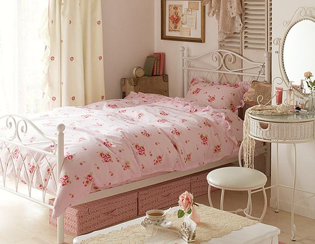 Decoração vintage retrô romântica para o seu quarto Ler  ~ Quarto Solteiro Feminino Vintage
