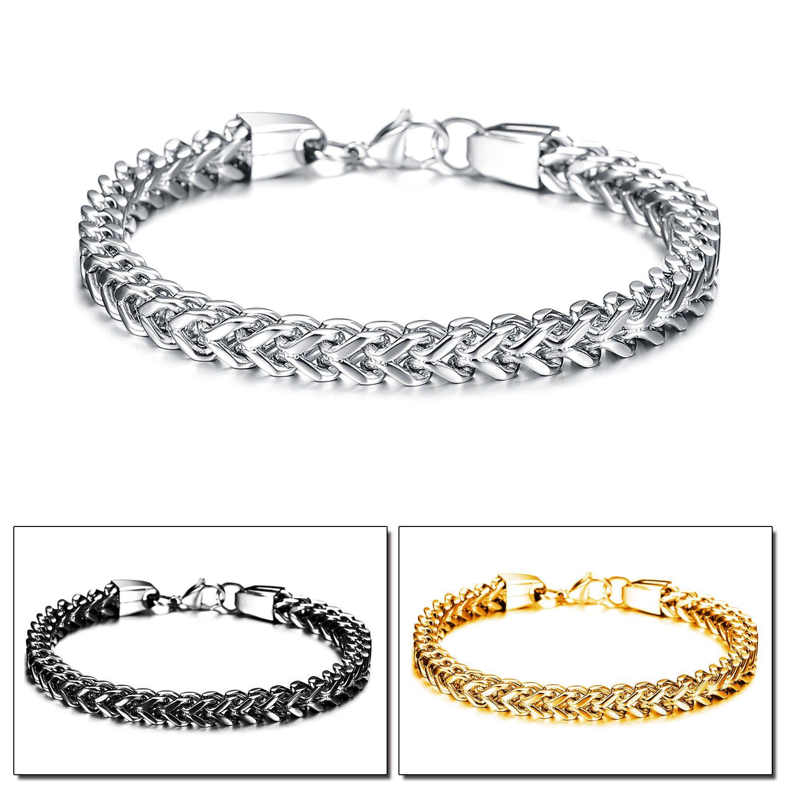Women men stainless steel jewelry figaro box curb chain bracelet new