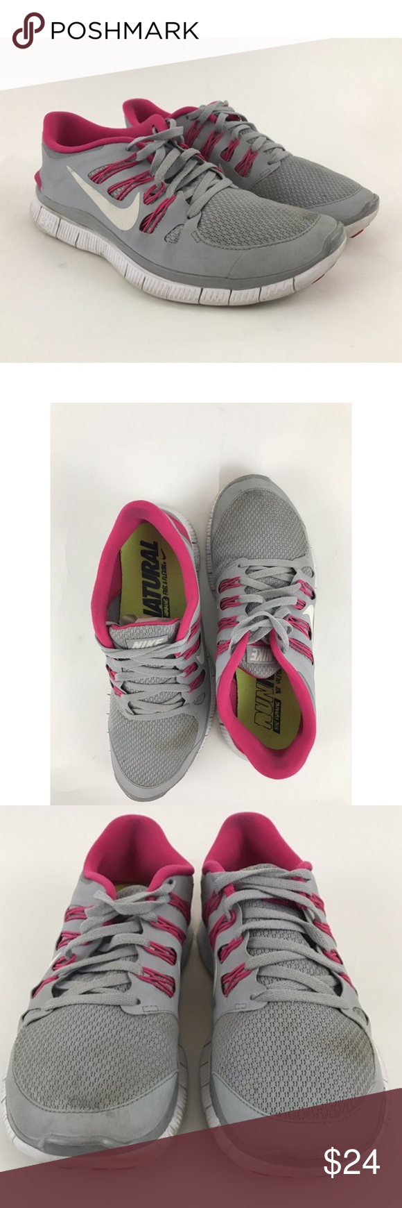online store 1d1fd 03efa Nike Free 5.0+ Wolf Grey Pink Force White Sneaker Pre-owned Nike Free 5.0+ Wolf  Grey Pink Force White Women s Sneaker 8.5 580591-061 Gently worn Running ...