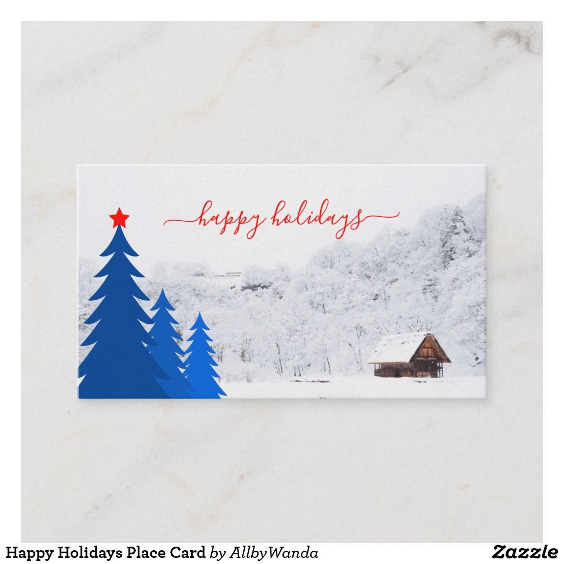 Happy holidays place card holiday place