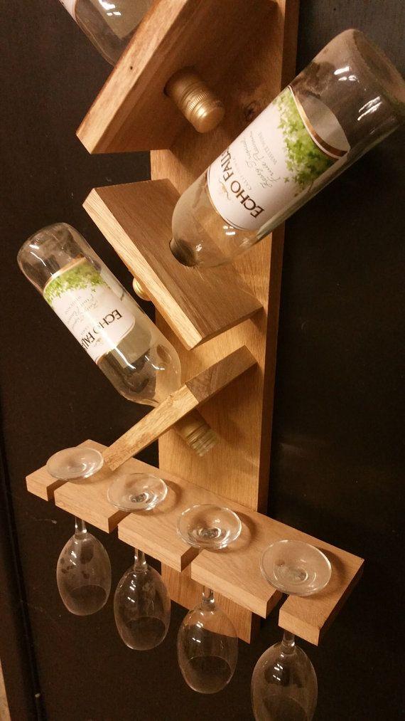 Vino roble y estante de cristal por thewineracker en etsy - Botellero de madera para vino ...