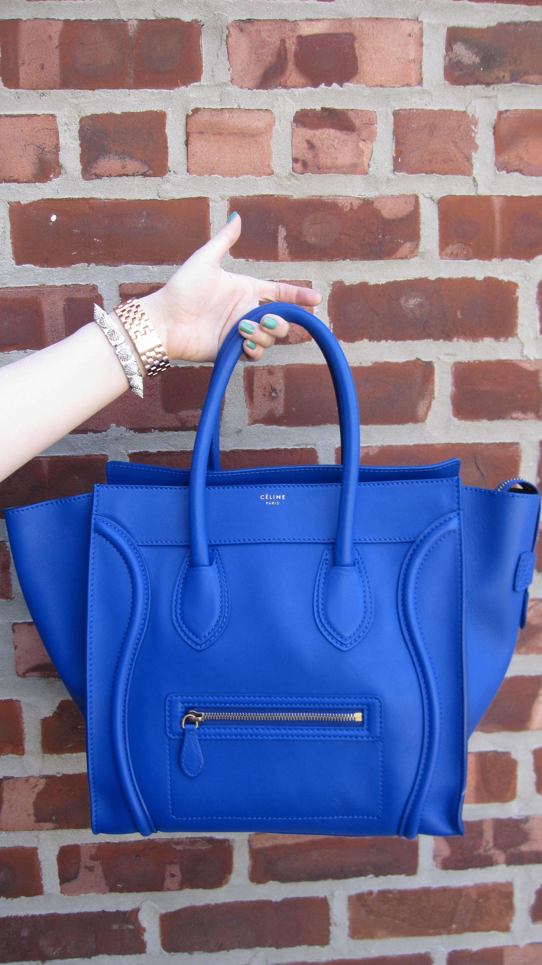 Celine Cobalt Blue Mini Luggage Tote The Fashion Minx