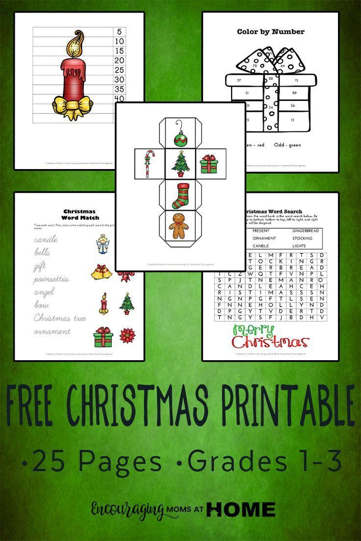 Free Christmas Printable Pack for Grades 1-3   Homeschool, Learning ...