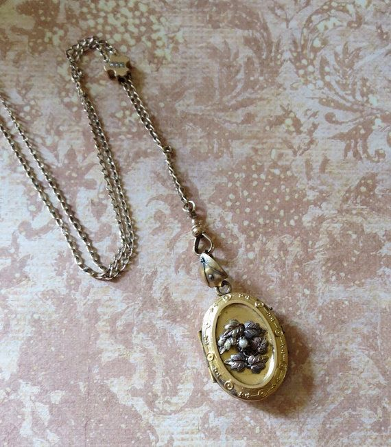 Victorian Gilt Locket with Raised Ivy Foliate and Pearl Accents on Slider Chain with Fleur de Lys Shape and Seed Pearls