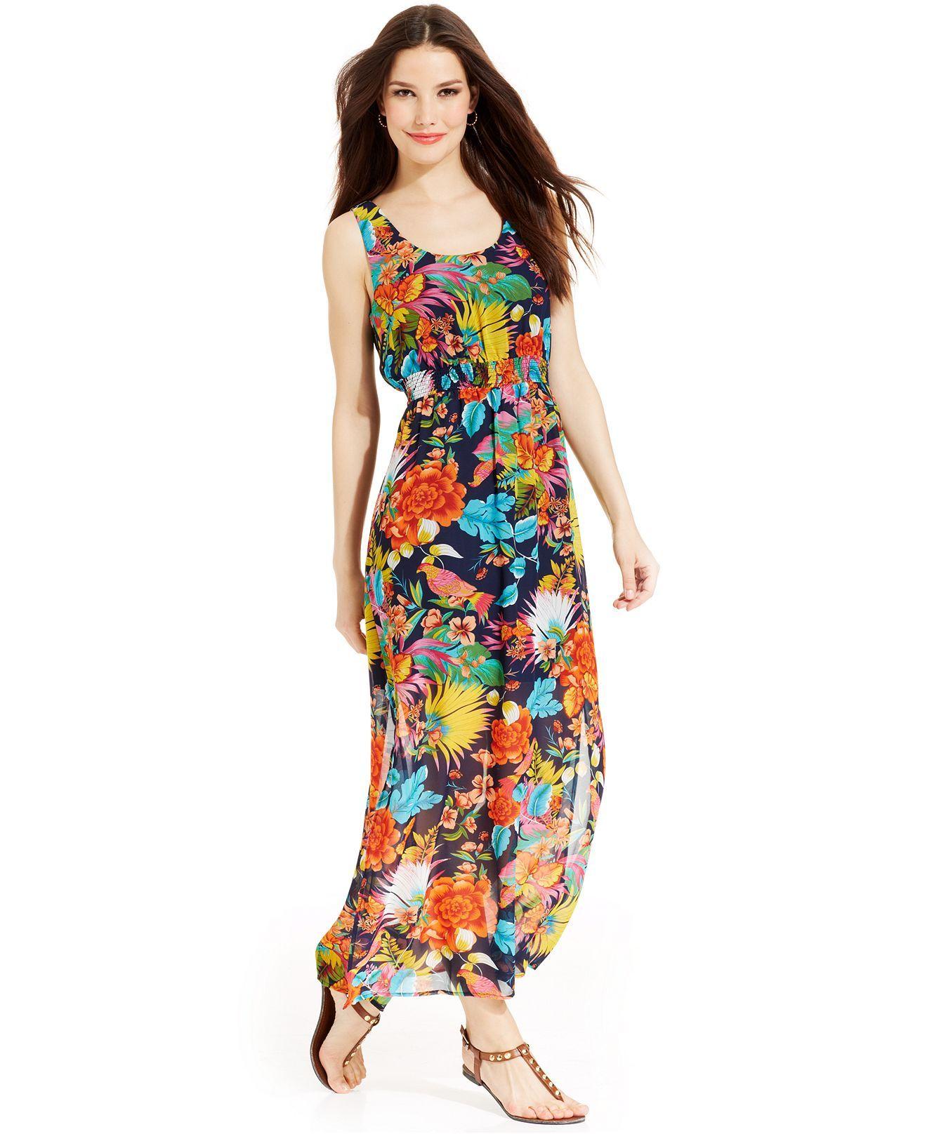 1905c5162a2 Spense Petite Sleeveless Floral-Print Empire-Waist Maxi Dress - Dresses -  Women -