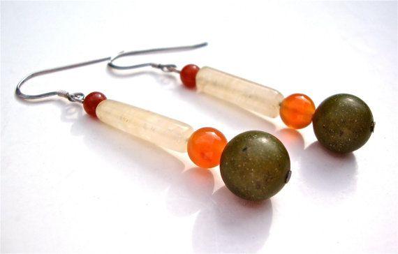 Long rustic stone earrings  olive green jade by sparklecityjewelry, $18.00