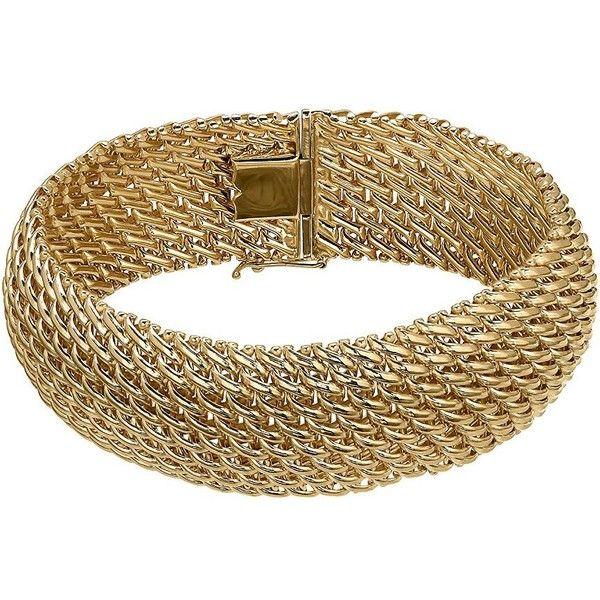 Lord Taylor 14K Mesh Bracelet 3795 liked on Polyvore