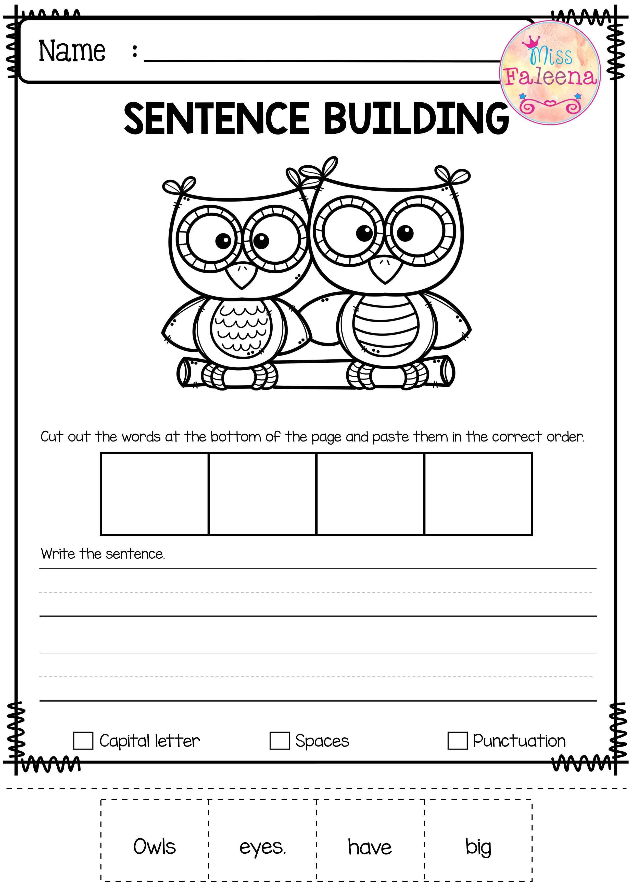 august sentence building kindergarten worksheets thinking skills and writing skills. Black Bedroom Furniture Sets. Home Design Ideas