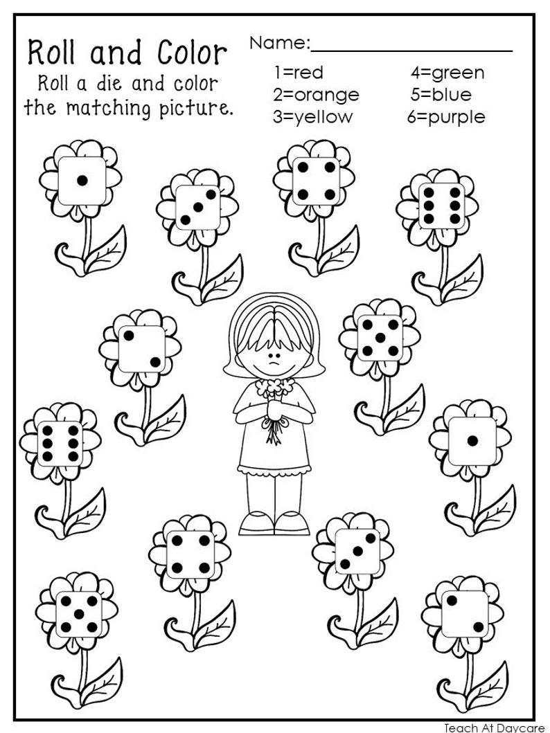 20 Printable Roll And Color Worksheets Numbers 1 6 Preschool Kindergarten Numbers And Math Color Worksheets Color Worksheets For Preschool Spring Worksheets Preschool [ 1059 x 794 Pixel ]