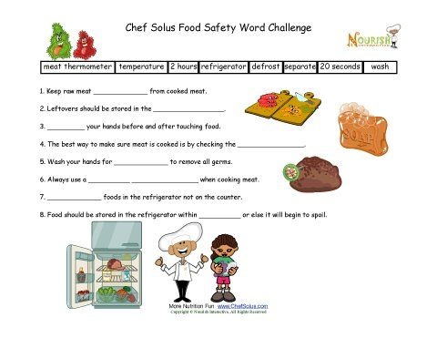 Food Safety Fill In The Blanks For Elementary School