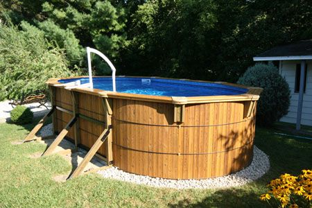 Above ground wood pool cool pools outdoor pool in - Wood above ground pool ...