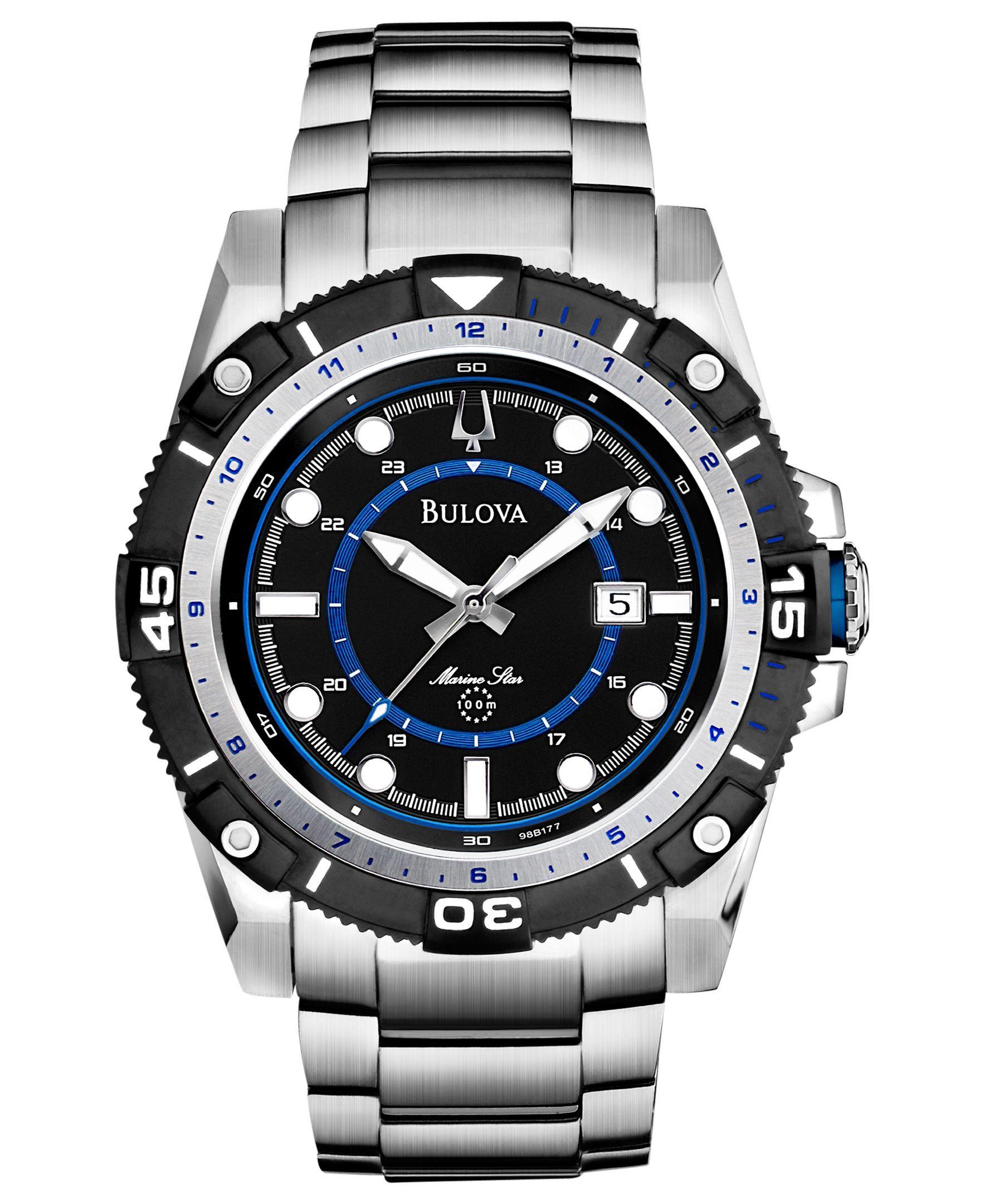 Bulova Men's Marine Star Stainless Steel Bracelet Watch 44mm 98B177