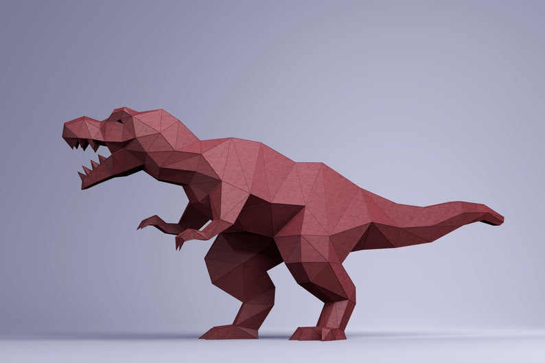Photo of T-REX Digital Template, PDF Paper Craft, T-REX Origami, Dinosaur Model