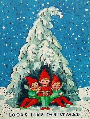 Looks Like Christmas Elves Vintage Christmas Card Vintage Christmas Cards Vintage Christmas Christmas Illustration