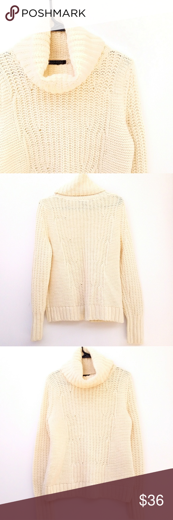 Banana Republic Cream Italian Cowl Neck Sweater | Cowl neck ...