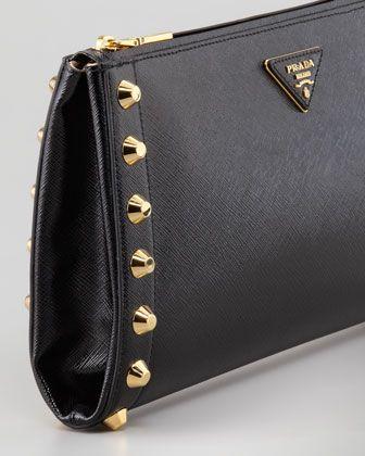 f587040560d9 Saffiano Vernice Studded Clutch Nero | Bags! | Studded clutch, Prada ...