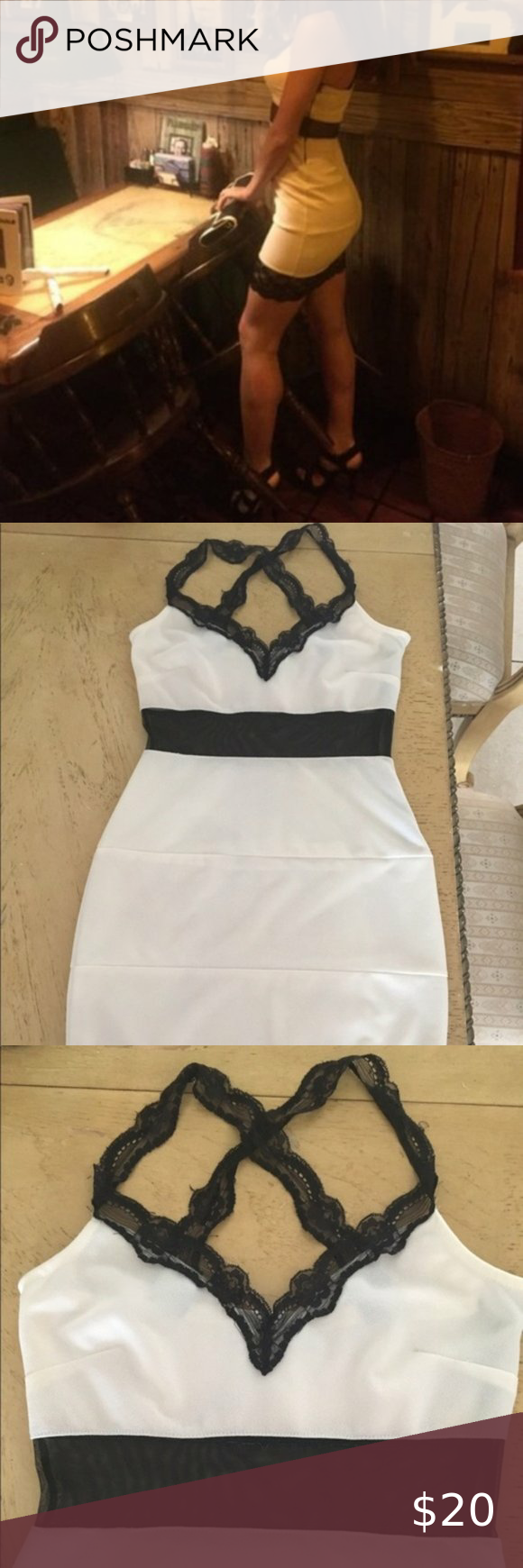 Bodycon Off White Dress With Black Lace S Stunning Bodycon Dress Stretchy With Criss Cross Lace At The Back As Well Off White Dresses White Dress Black Lace [ 1740 x 580 Pixel ]