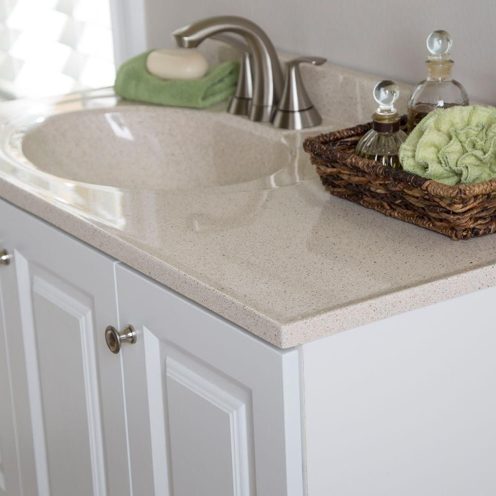 Glacier Bay Lancaster 36 In Vanity In White With Colorpoint Vanity Top In Maui Lc36p2mcom Wh The Home Depot Vanity Top Bathroom Vanity Tops Bath Vanities