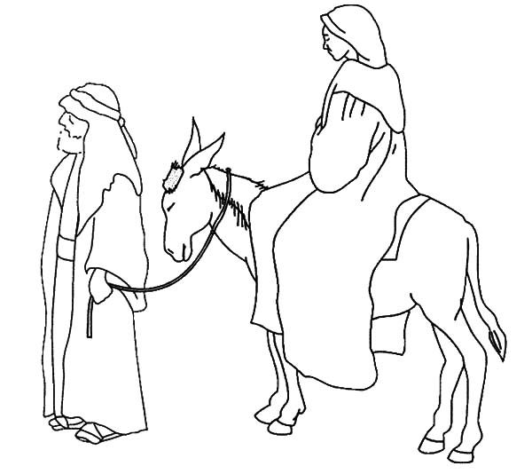 Joseph And Mary And The Donkey Expecting Birth Of Jesus Coloring