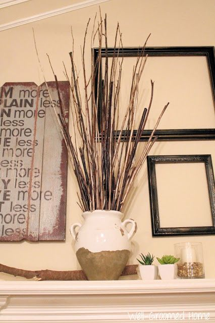 Well-Groomed Home: Mantle Decor, fall mantle, fireplace decor, natural decor, rustic