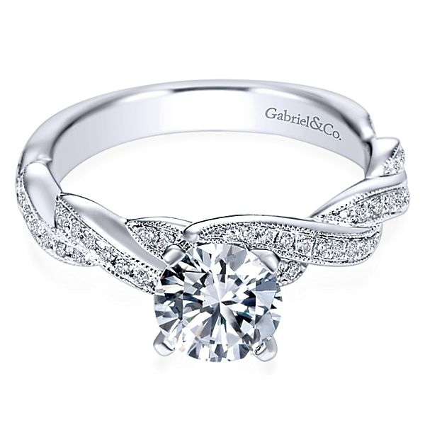 0dffe88e06614 Cassidy 14k White Gold Round Twisted Engagement Ring angle 1