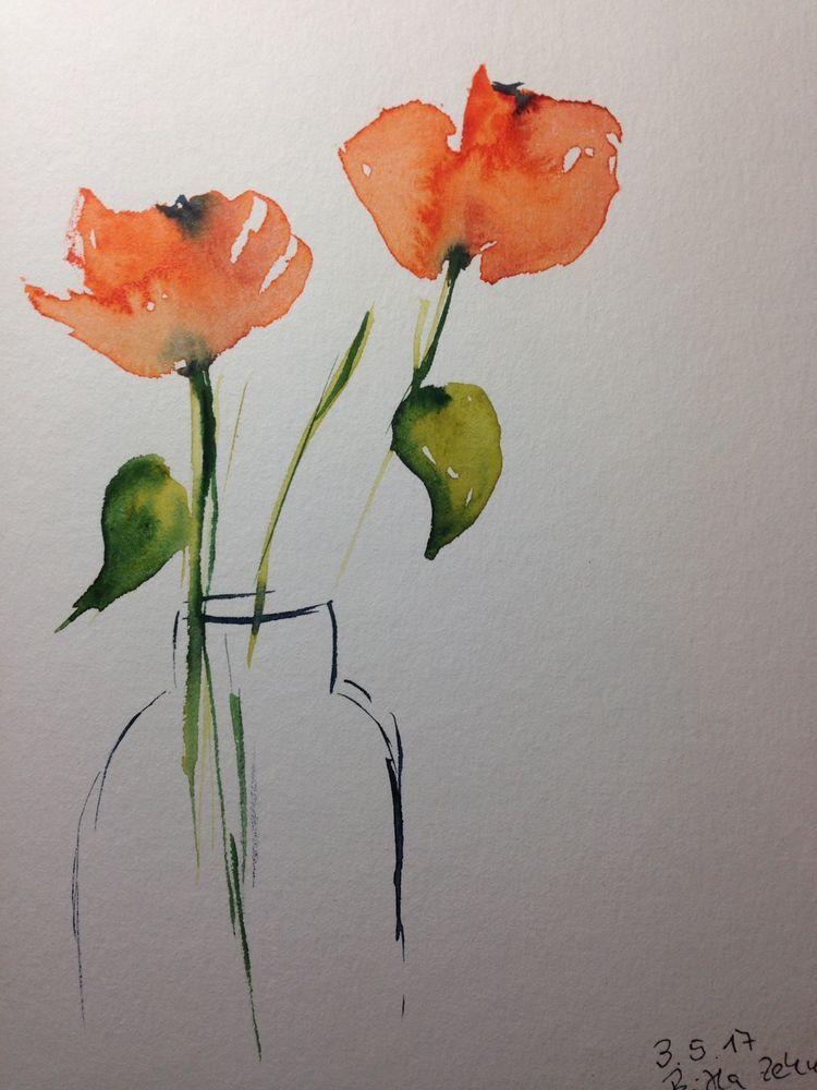Original Aquarell Aquarellmalerei Mohnblumen Blumen Unikat