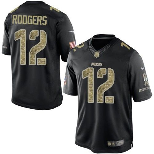 14d5f411e Nike Aaron Rodgers Men s Black Elite Jersey   12 NFL Green Bay Packers  Salute to Service