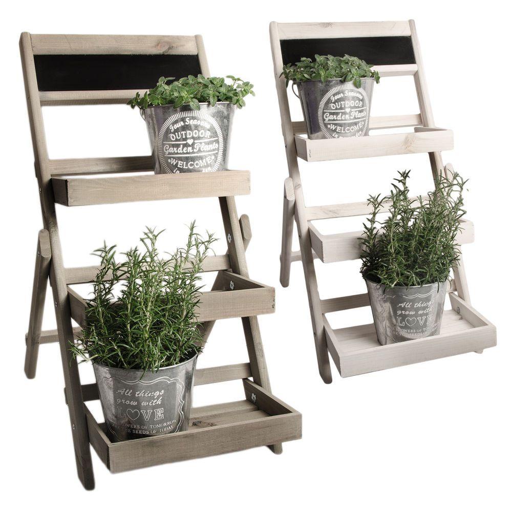 Blumenleiter EASY Pflanzentreppe Blumenregal Holz Shabby Chic Landhaus Weiß Grau  Garten ...