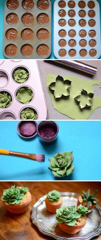 Succulent Cupcakes Tutorial Easy DIY Video Instructions #cupcakesrezepte