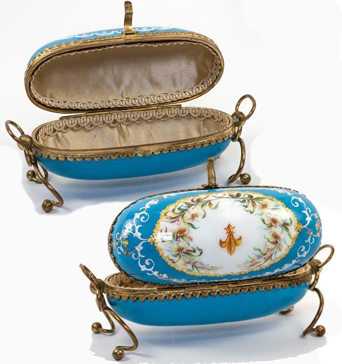 Remarkably Fine Large Kiln-fired Enamel Sevres Large Jewelry Casket ...