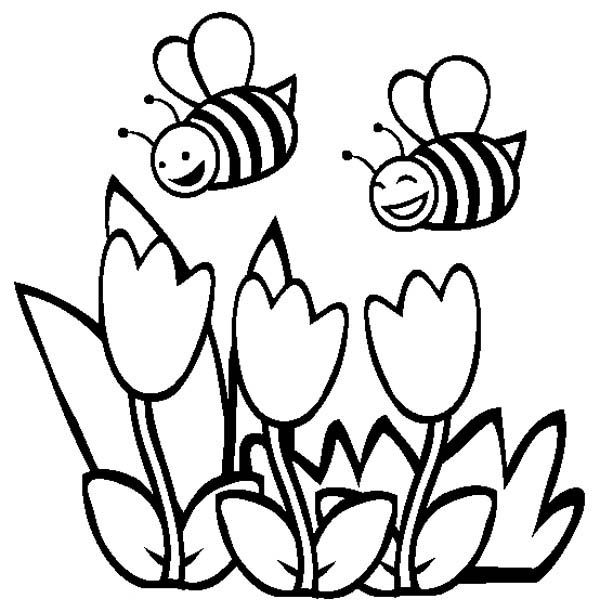 Spring Day Bees With Tulips Coloring Pages For Kids Printable