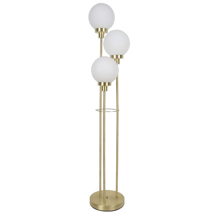 Gold Metal Floor Lamp With 3 White Glass Globes 60 Metal Floor Lamps Floor Lamp Lamp